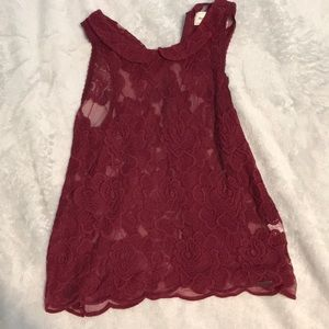 Red lace shirt abercrombie and fitch